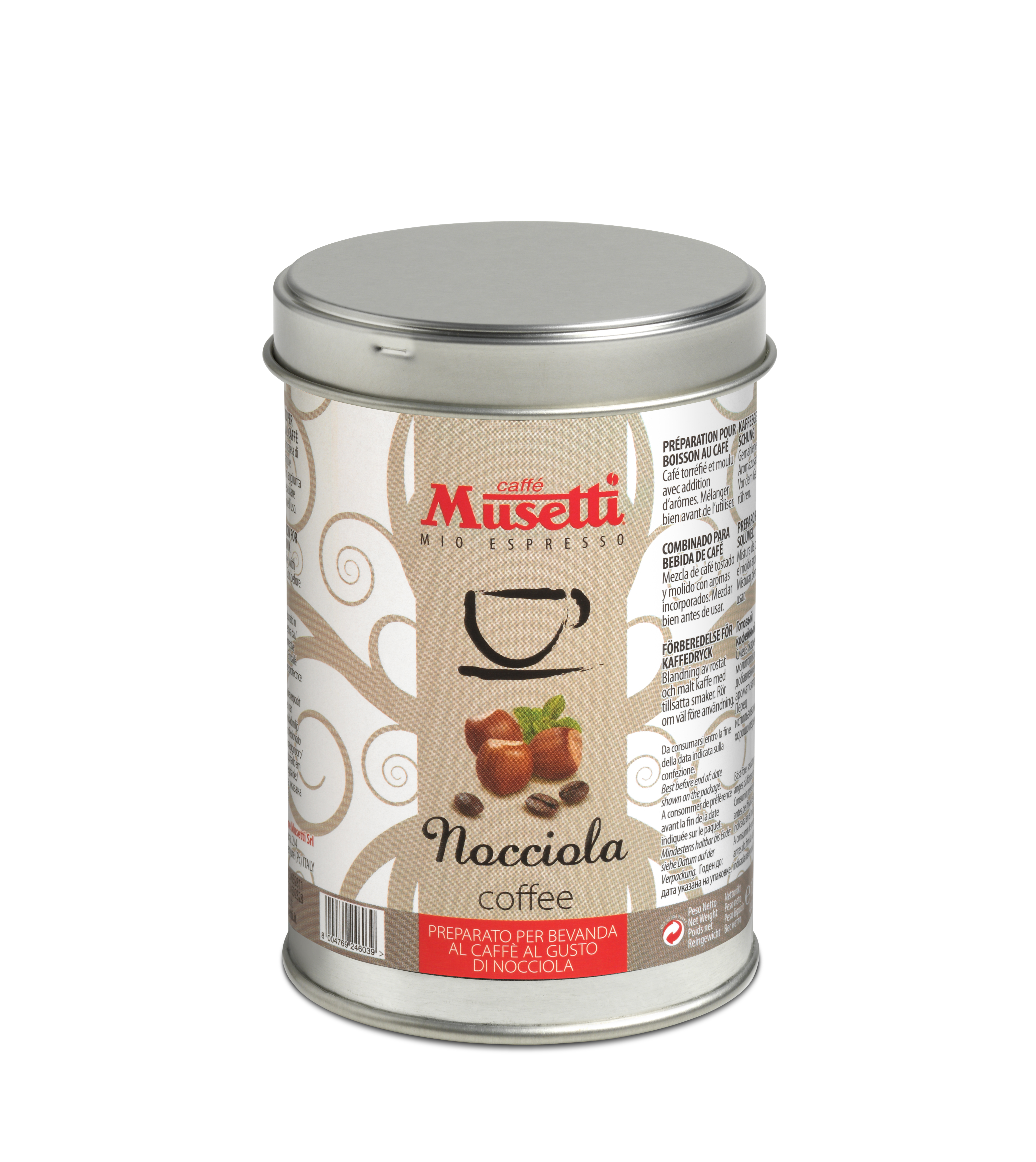 Hazelnut Flavoured Coffee by Musetti, 125 g tin