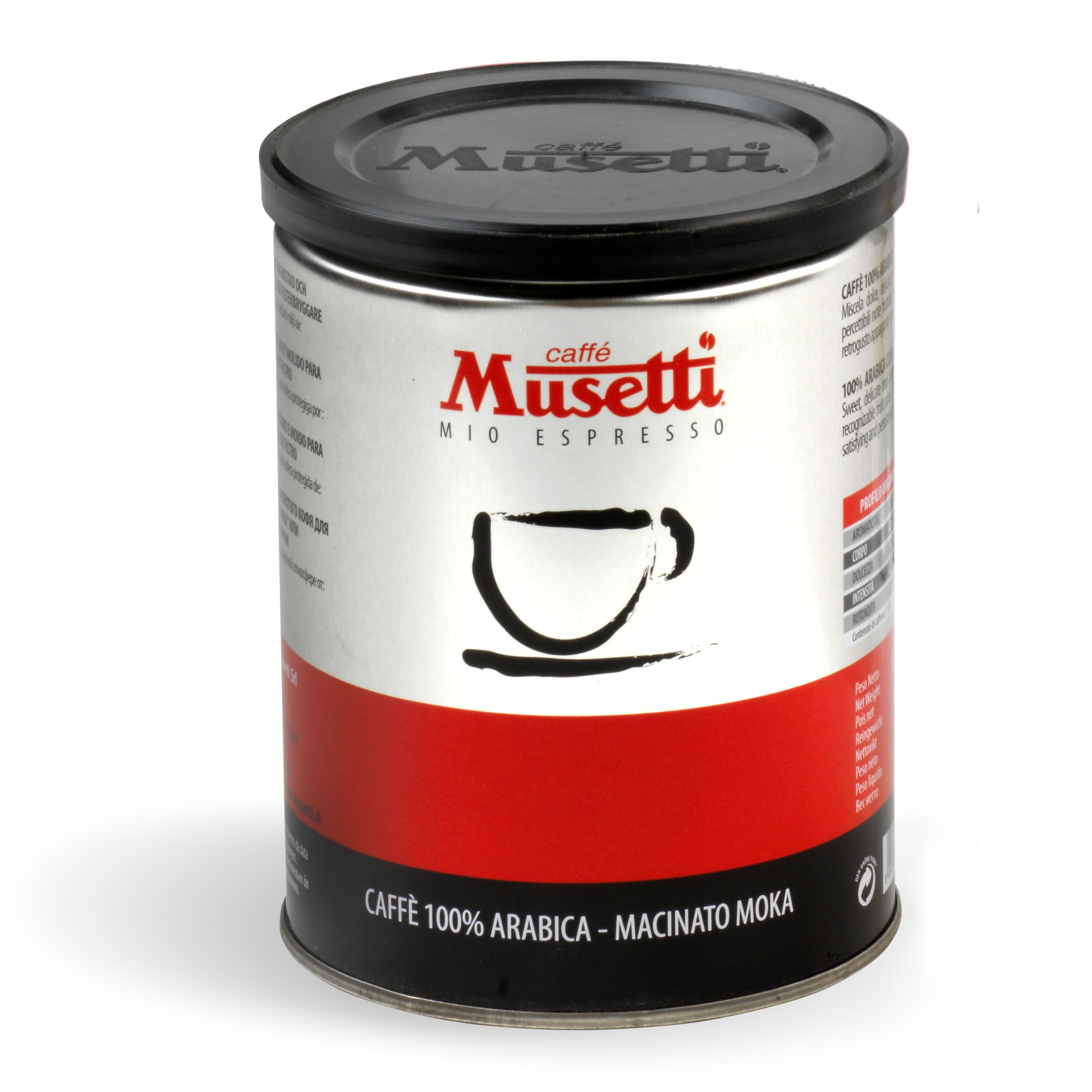 Musetti black coffee nera 100 arabica ground tin for Musetti coffee